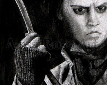 Johnny Depp Sweeney Todd Drawing PRINT