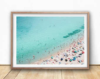 Aerial Beach Print, Beach Art Print, Digital Download, Beach Life, Modern Beach Poster, Sea Print, Teal Decor, Beach Photography, Busy Beach
