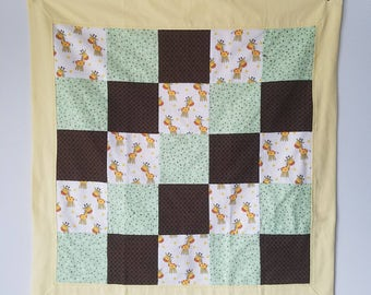 Giraffe with Green and Brown Snuggle Flannel Blanket
