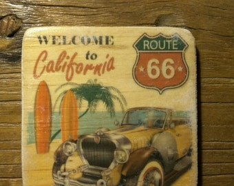 "set 6 coasters ""Route 66"" - home, table. kitchen, cottage style, chic, bar, wood, vintage, gift"
