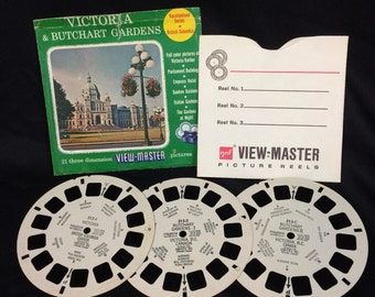 Vintage VICTORIA & Butchart Gardens pack of 3 Sawyer's View Master Reels 313 Vacationland Series- British Columbia Canada 50s