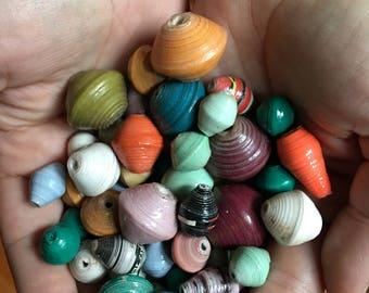 50 medium size loose paper beads-Random, beautiful colors!