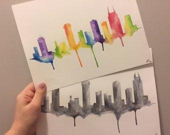 "Nashville Skyline Watercolor (9X12"")"