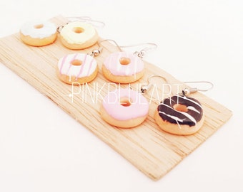 Donut Earrings Mini Donuts - Polymer Clay Food Jewelry Miniatures Charms - Funny Gifts