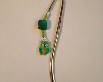 Green Owl Beaded Metal Bookmark