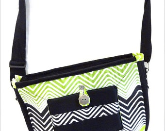 Handbag with shoulder strap - black and green coton - zig-zag patterns by Hitawaka