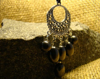 Shungite pendant with oval beads from Karelia.