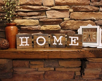 Home Blocks, Rustic Home Blocks, Rustic Home Sign, Mantel Accent, Home Sweet Home, First Home Gift, Wooden Home Blocks, Housewarming Gift