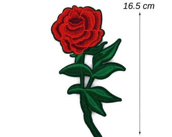 Embroider Applique patch Iron on and sew ROSE.