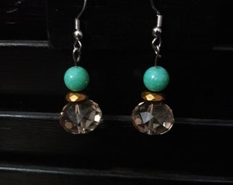 Teal and Tan  Earrings