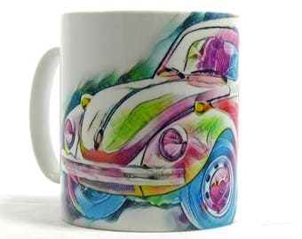 Beetle Car, Coffee Mug, VW Beetle, Dishwasher Safe Mug, Vintage Car, Mug, Car Enthusiast, 10 oz Ceramic Mug