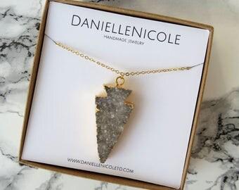 Grey Druzzy Pendant Necklace, Arrowhead Necklace,Pendant Necklace, Statement Jewelry, Everyday Jewelry, Boho Chic, Bohemian Jewelry, Boho