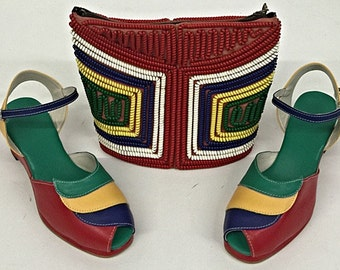 Lauren Multi Wedge Sandals  -  Telephone Cord Purse