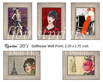 Dollhouse Wall Prints, Dollhouse Wall Art, Dollhouse Supply, Dollhouse DIY, Dollhouse Printables, 1920's Flapper Dollhouse Prints
