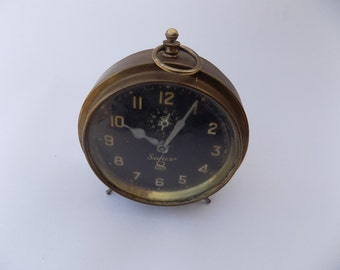 Antique Brass Mechanical Super 8 Day Table Clock