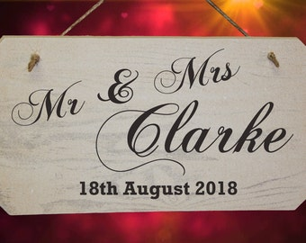Personalised Wedding Mr and Mrs Wooden Sign - White Washed Finish