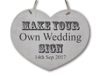 Heart Shaped Personalised Wedding Sign Choice of Wording! Wooden Plaque