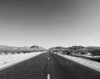 Highway to the mountains; Road to nowhere; Vanishing road; Black and white; San Bernardino, California; Big Bear Mountain; wall art; poster