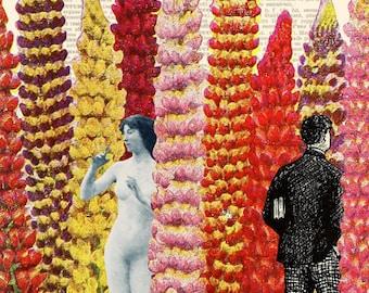 Naked woman print, Naked woman art, Lupine lady, Lupine print, Flower print, Flower printable, Flower wall art, Floral printable, Art prints