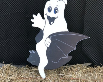 Trick or treat! Halloween ghost. Made with MDO board. Halloween yard decor. Halloween yard art. Halloween decor