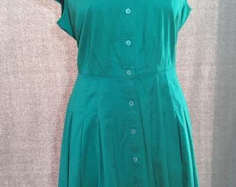 Vintage 90s Alfani Teal Green Shirt Dress