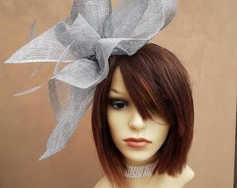 Large Silver Feather Fascinator