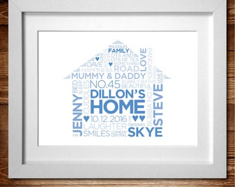 New Home Family Home – Word Art Personalised Print* A4 (also available in A3)