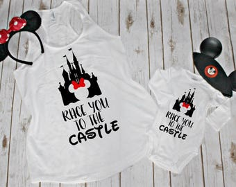 Race You To The Castle Mommy And Me Tank And Onesie Set-Disneyland Outfits-Disneyworld-Unique Onesies-Disney Obsessed