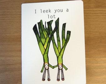 Leek Pun Greeting Card, leeks, vegetables, green, funny, fun, cute, fineliners, drawing, illustration, artwork