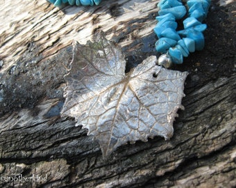 Turquoise Silver Ivy Leaf Necklace
