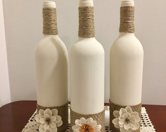 Wine Bottle Home Decor, Rustic Home Decor, Housewarming Gift, Table Decor, Event Centerpieces