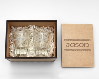 SHOT Glass GIFT BOX ~ Custom Laser Cut & Engraved Wood Gift Box ~ Birthday, Father's Day, Groomsman, Guy Gift, Boyfriend, Fiance, Gun Gift