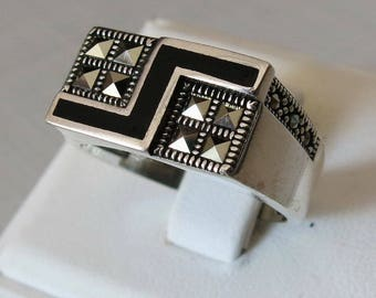 Handmade MEN's RING 925 STERLING silver black agate & Marcasite stone #941