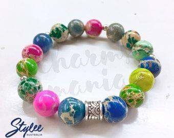 Iris Assorted Sediment Gemstone Bead Bracelet