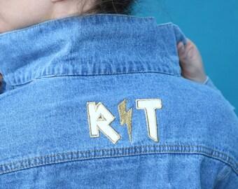 GOLD LIGHTNING INITIAL custom denim embroidery jacket