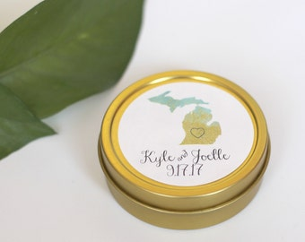 25 Personalized Michigan State Wedding Favor Tins / Gold Wedding Favor Tins / Mint Tin / Wedding Favors / Custom State Favors