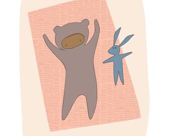 Sleeping Baby, Rabbit Nursery Decor - Baby in a brown / grey onesie, sleeping on pink blanket, sleeping toy rabbit - Art Print A5 A4