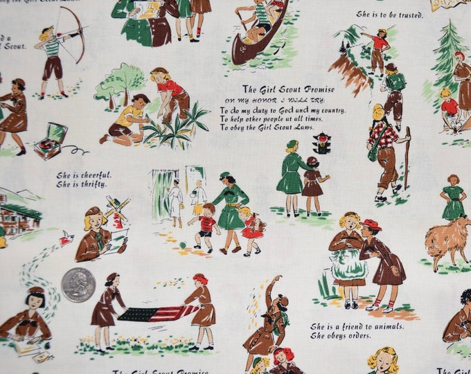 New Posting!   Robert Kaufman Registered GIRL SCOUT PROMISE Fabric -  100% Kona Cotton - Rare