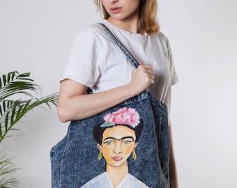 Handpainted Frida Kahlo Denim Bag