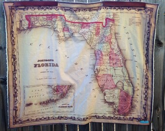 FLORIDA map minky baby blanket - baby cuddle quilt - or shoulder blanket, wheelchair lap blanket - 34 by 41 inches