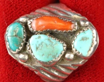 Old Pawn Native American Red Coral and Turquoise Gemstone Sterling Silver Ring Size 8.5