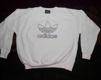 RARE!!! Vintage Adidas Trefoil Big Logo White Sweatshirt