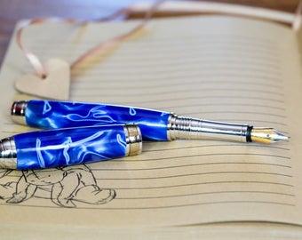 Handmade pen Fountain pen - Stewart Conway - handmade - fountain pen - blue fountain pen - gift for her - gift for him