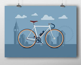 Cycling art, Urban city cycling print, London city cycling print, A2 cycling print, A3 cycling print, Bike print UK