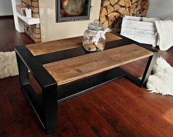 Handmade Reclaimed Wood & Steel Coffee Table Vintage Rustic Industrial  loft end table unique brown black old wood