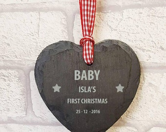 FREE P&P baby's first Christmas, small love heart hanger