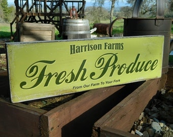 """Distressed Primitive Country Wood Sign - Your Name Farm Fresh Produce 5.5"""" x 19"""""""