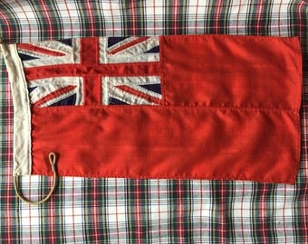 Vintage Linen Signal Flag, Nautical Flag, Red British Ensign Flag