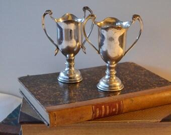 Pair of Vintage Silverplate Urns Trophies Loving Cups