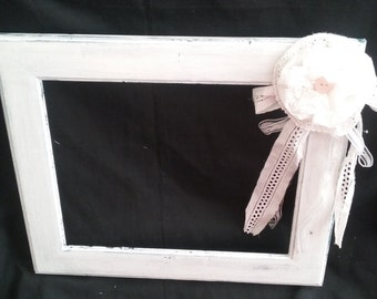 white painted wooden picture frame upcycled frame picture frame white frame wooden frame 8x11 picture frame